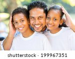 happy indian father and kids... | Shutterstock . vector #199967351