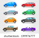 vector cars icons   side view   ... | Shutterstock .eps vector #199976777