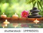spa still life with burning... | Shutterstock . vector #199985051