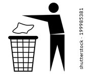trash bin or trash can with... | Shutterstock .eps vector #199985381