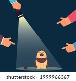 fingers pointing at guilty dog...   Shutterstock .eps vector #1999966367