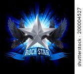 Blue Rock Star Banner With Two...