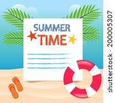 summer time beach vacation... | Shutterstock .eps vector #200005307