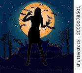 halloween night background with ... | Shutterstock .eps vector #2000078501