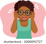 cute young afro woman tries... | Shutterstock .eps vector #2000092727