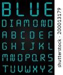 blue diamond font set modern... | Shutterstock .eps vector #200013179