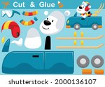 funny polar bear wearing helmet ... | Shutterstock .eps vector #2000136107