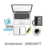 vector realistic workplace  | Shutterstock .eps vector #200016977
