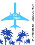 retro poster plane in the sky ... | Shutterstock .eps vector #2000207504