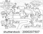 jungle  africa safari animals... | Shutterstock .eps vector #2000207507