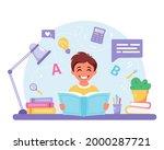 boy reading book. boy doing...   Shutterstock .eps vector #2000287721