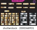 set of glass gold buttons and... | Shutterstock .eps vector #2000368931