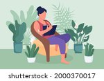 woman reading book flat color...   Shutterstock .eps vector #2000370017