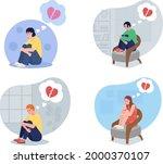 lonely teen upset over breakup...   Shutterstock .eps vector #2000370107