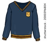 blue pullover with school badge.... | Shutterstock .eps vector #2000396804