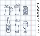 vector sketch set of beer... | Shutterstock .eps vector #2000396894