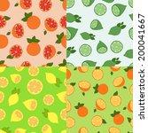 citrus seamless pattern set | Shutterstock .eps vector #200041667