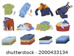 dirty and clean clothes set...   Shutterstock .eps vector #2000433134