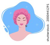 young woman in shower cap in... | Shutterstock .eps vector #2000441291