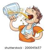 very thirsty man drinks beer.  | Shutterstock .eps vector #200045657