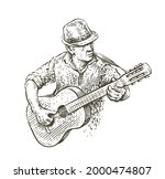 man in hat playing guitar.... | Shutterstock .eps vector #2000474807