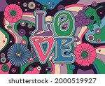 love poster  1960s hippie art... | Shutterstock .eps vector #2000519927