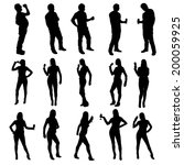 illustration of set silhouette... | Shutterstock .eps vector #200059925