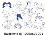 zodiac sign set. astrology... | Shutterstock .eps vector #2000633021