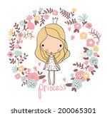 Cute small princess. Childish vector card in beautiful flowers.