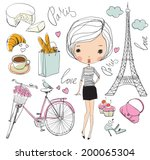 Vector Set Of Paris. Girl.