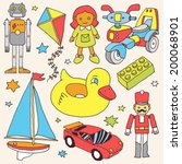 Colorful Hand Drawn Toys Set 4. ...