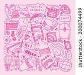 doodle communication background | Shutterstock .eps vector #200074499