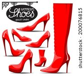 woman shoes red | Shutterstock .eps vector #200076815