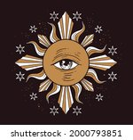 mystical drawing  one eyed sun. ... | Shutterstock .eps vector #2000793851