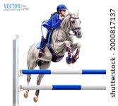 jockey on horse. white horse.... | Shutterstock .eps vector #2000817137