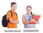 happy school kids standing... | Shutterstock . vector #200084099