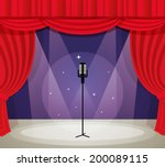 stage with microphone in...