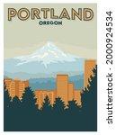 Portland Oregon city view poster