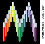 rainbow test tubes in M shape for medical (photo format) - stock photo