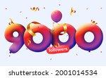 9000 followers thank you 3d... | Shutterstock .eps vector #2001014534
