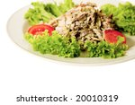 appetizer - meet with lettuce on the white plate - stock photo