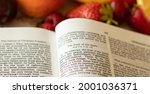 Small photo of Fruit of the Spirit Holy Bible book Galatians 5. Love joy peace kindness longsuffering faithfulness goodness gentleness self-control. God and Jesus Christ's godly character and traits.
