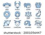 zodiac sign set. astrology... | Shutterstock .eps vector #2001056447