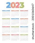 2023 calendar design with color | Shutterstock .eps vector #2001060647