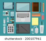 office workplace essential  ... | Shutterstock .eps vector #200107961