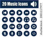 20 music icons isolated on...   Shutterstock .eps vector #2001117977