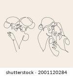 lesbian line art. couple...   Shutterstock .eps vector #2001120284