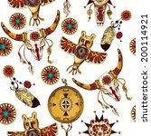 tribal seamless background set... | Shutterstock .eps vector #200114921