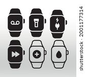 watch icons  line  isolated or...
