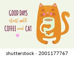 Cute Ginger Cat Is Holding A...